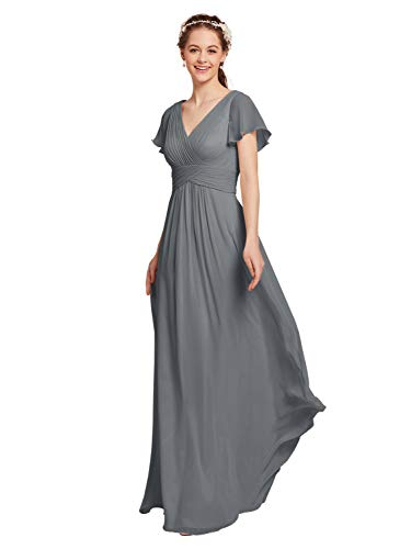 AW Chiffon Bridesmaid Dress with Sleeves V-Neck Wedding Maxi Evening Party Dress Long Prom Gowns, Steel Gray, US10 Butterfly Chiffon Evening Gown