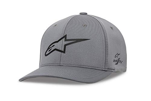 Alpinestars Men's Logo Flexfit Tech Hat, Cuvred Bill Structured Crown, Ageless Sonic Tech Hat Charcoal/Black, LXL