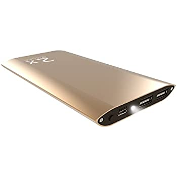 DULLA M50000 Portable Power Bank 12000mAh External Battery Charger, Ultra Slim Design with 2 USB Ports for iPhone, iPad, Galaxy and More (gold)
