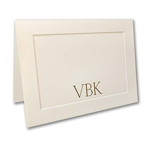 200pk Embossed Panel Large Note Folder - Ecru-Personal Stationery