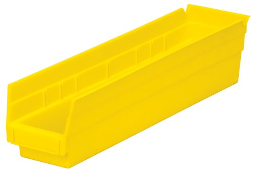 - Akro-Mils 30128 18-Inch by 4-Inch by 4-Inch Plastic Nesting Shelf Bin Box,Yellow, Case of 12