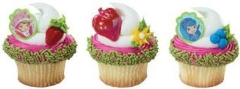 Strawberry Shortcake Cupcake Topper Rings Party Favors - 24 ct (Loot Shortcake Strawberry Bag)