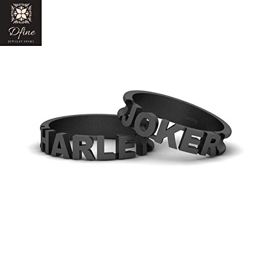 Fantasy Super Villain Joker and Harley Quinn Matching Couple Rings Solid 14k Gold Joker and Harley Quinn His and Hers -
