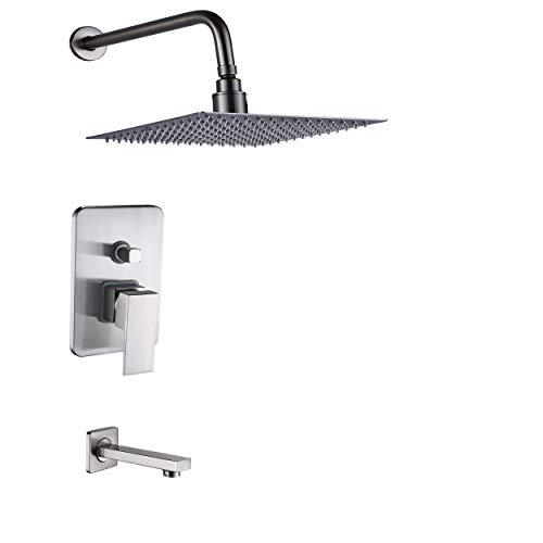 Bath Mixer Set - Rozin Brushed Nickel 2-way Mixer 10
