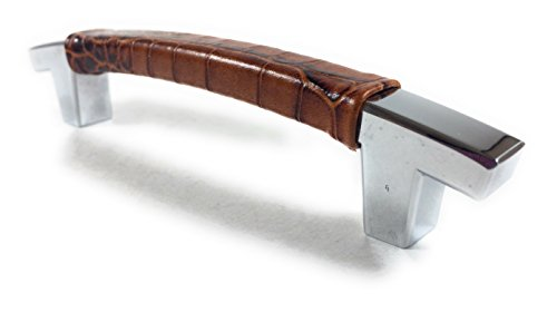 Cabinet Handle Store - Italian Embossed Alligator Cognac Leather for 4