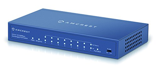 Amcrest 9-Port POE+ Power over Ethernet POE Switch with Metal Housing, 8-Ports POE+ 802.3at 96w (AMPS9E8P-AT-96) by Amcrest