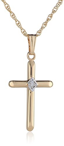 14k Yellow Gold Solid Beveled Tip Cross Pendant Necklace with Genuine Diamond, - Beveled 14k White Gold Cross