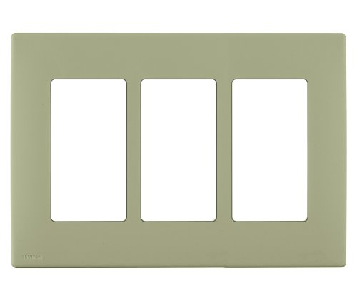 Leviton REWP3-PS Renu Three-Gang Screwless Snap-On Wallplate, Prairie ()