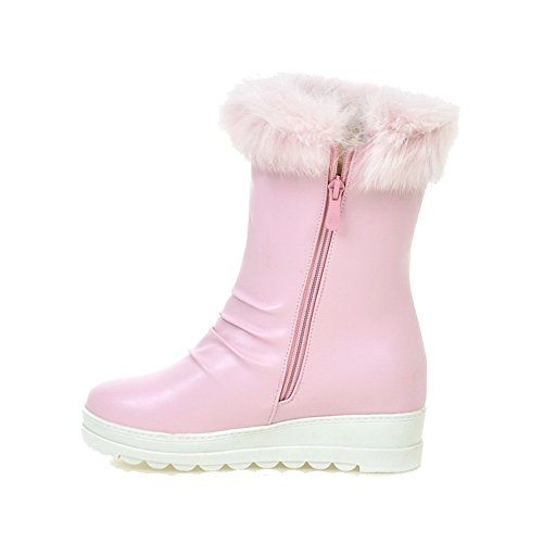 Women's Zipper PU Closed Boots Heels Allhqfashion Solid Pink Round Kitten Toe PwpCq7