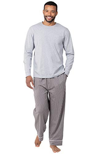 PajamaGram Mens Pajamas Set Cotton - Mens Pajamas, Classic Stripe, Gray, SM