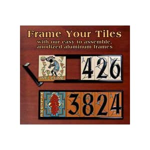 "FLORAL DESIGN - TWO 3"" X 6"" Ceramic Tile Address House Numbers - Talavera Cobalt Blue LEFT AND RIGHT ENDS"