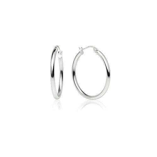 LOVVE Sterling Silver High Polished Round-Tube Click-Top Hoop Earrings, 2x25mm (Mm Hoop 25 Round)