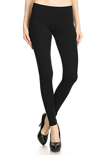 Leggings Mania Solid Colored Tights Cotton Spandex Leggings Black Large