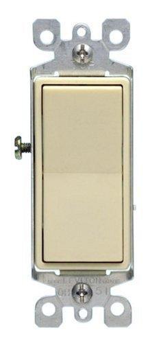 (Leviton 5611-2IS S11-0 Decora Grounding Rocker Switch, 120/277 Vac, 12 A, 1 P Ivory)