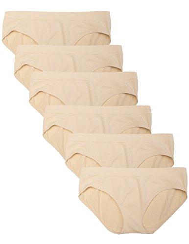 Kalon 6 Pack Women's Hipster Brief Nylon Spandex Underwear (Small, 6PK Beige) ()