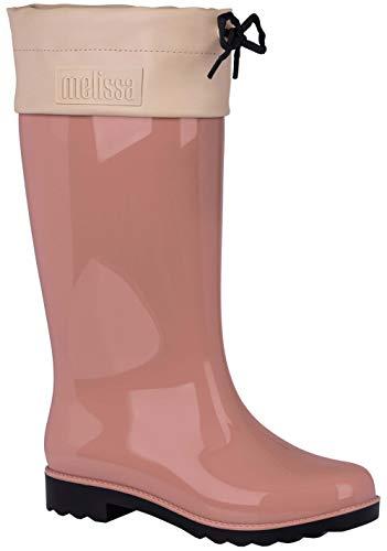 Melissa Womens Rain Boot, Pink Black, Size 8