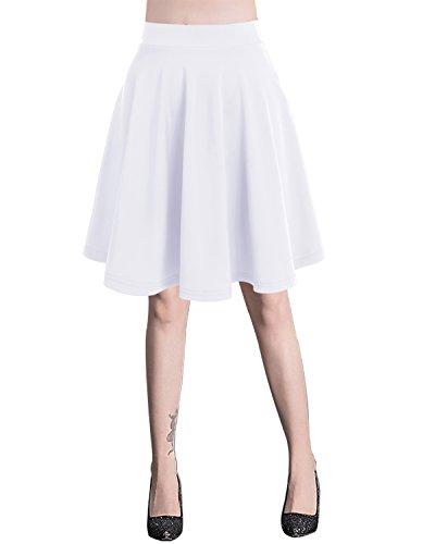 Bridesmay Donna Gonna Vita Alta Casual Solida Colore Mini Gonna Midi-white