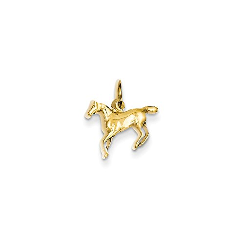 Real 14kt Yellow Gold Polished Horse Charm