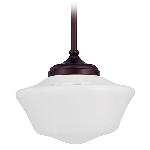 120v Line Voltage Round Canopy (14-Inch Retro Style Bronze Schoolhouse Pendant Light)