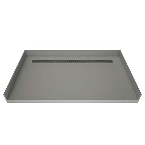 Tile Redi USA RT3660CBFB-PVC-SQBN Redi Trench Barrier Free Shower Pan with Back Brushed Nickel Trench, 36