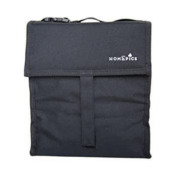 HomEpics 10'' inch Freezes for hours and its Foldable Reusable Lunch Bag with built in ice packs and Adjustable Strap - Premium Black