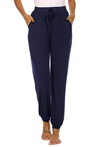 (Ekouaer Women's Drawstring Pajama Pants Stretch Lounge Pants with Pockets Jogger Pants Navy Blue)