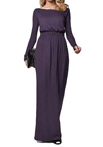 Tunica Misura Solido Banchetto Sottile Vestito Coolred Partito Lungo Il Elegent Viola donne 5qwx4T4Z