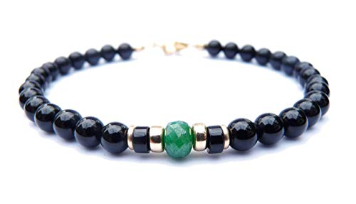 (Mens 14K GF Genuine Emerald May Birthstone, Faceted Emerald Gold Gemstone Beaded Bracelets, Husband Father Son Gifts for Him, Jewels for Gents)