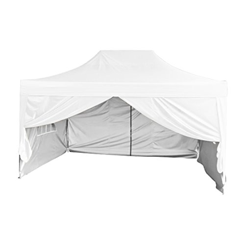 Quictent Silvox Waterproof 10x15 Feet EZ Pop Up Canopy Tent Gazebo Party Tent Pyramid-roofed Style with 4 Sides & Roller Bag (White)