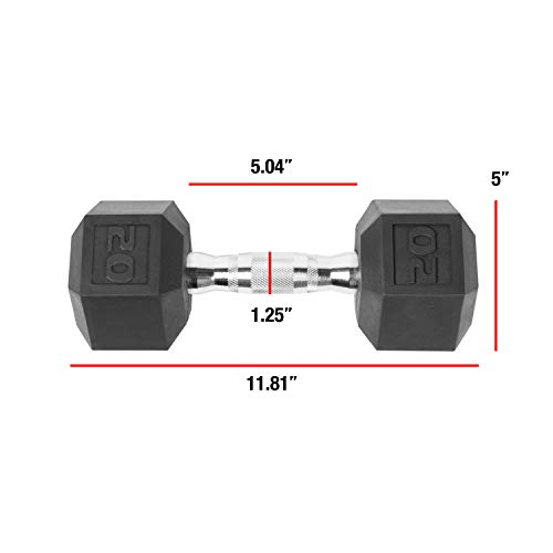 CAP Barbell SDP-020 Color Coated Hex Dumbbell, Black, 20 pound, Single