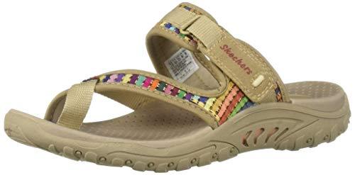 (Skechers Women's Reggae-MAD Swag-Toe Thong Woven Sandal, Dark Natural, 9.5 M US)