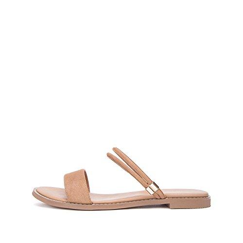da 37 piatti estivi a alla Tacchi casual donna alti basso moda basso Sandali tacco DHG Sandali Albicocca con tacco Sandali Pantofole 8twR5