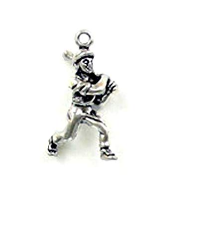 (Pendant Jewelry Making/Chain Pendant/Bracelet Pendant Sterling Silver 3-D Baseball Player Charm)