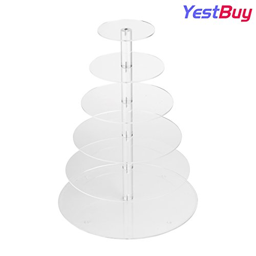 """YestBuy 6 Tiers Round Maypole Wedding Celebration Acrylic Cup Cake Stand(6 Tier Round (4"""" between 2 layers))"""