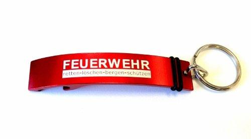 Schlüsselanhänger mit Flaschenöffner Aluminium inklusive Lasergravur FEUERWEHR retten-löschen-bergen-schützen
