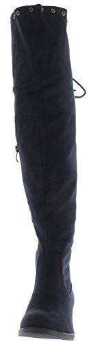 ChaussMoi Botas de Mujer Azul a Ante de Mirada 4 cm de Tacón Grueso con el Cordón