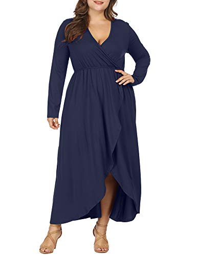 Allegrace Women Plus Size Wrap V Neck Long Sleeve Ruffle Maxi Dress Flowy Long Dresses Dark Blue 2X