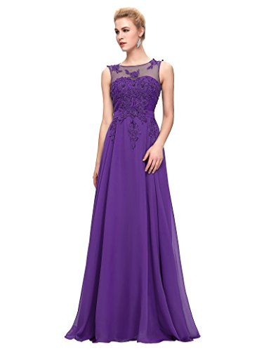 Unique Appliques Long Prom Gowns 2016 Purple Size 12