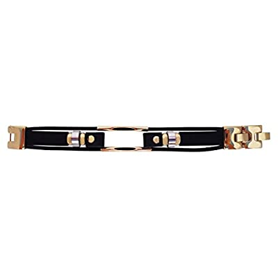 Fitbit jewelry - Black/Gold or Black/Silver interchangeable leather band for fitjewels bracelets - FitBit flex Jewelry - stainless steel - real leather