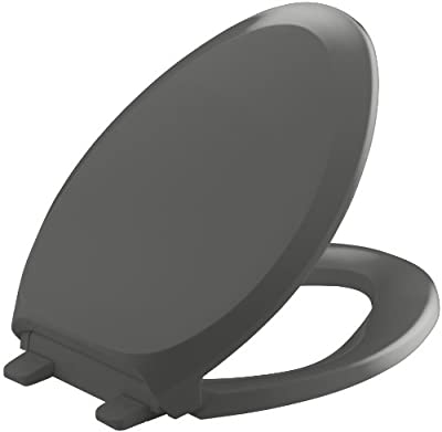 KOHLER K-4713-58 French Curve Quiet-Close with Grip-Tight Bumpers Elongated Toilet Seat, Thunder Grey