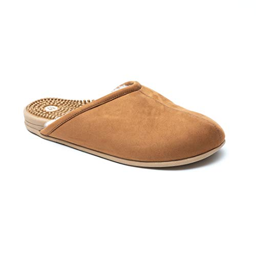 Revs Vegan, Reflexology Massage Slippers. Cushion Comfort, Shock Absorbing Textured Sole, Supportive Arch & Indoor/Outdoor Sole (9.5-10 US / 28.5cm, Tan). Wear for Better Health & Well-Being