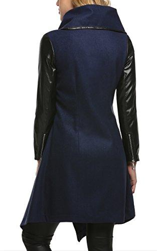 CRAVOG Chaqueta Larga para Mujer Elegante Patchwork Mezcla Lana Abrigo Coat Cazadora Azul