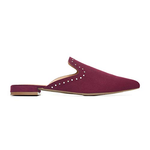 Rohb by Joyce Azria Maison Pointed Toe Flat Slip On Mule (Merlot with Silver Micro Stud Detail) Size 8