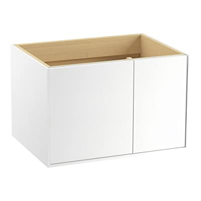 KOHLER K-99541-R-1WA 30-Inch Jute Vanity in Linen White, Solid Wood - Features 1 door and 1 drawer on the right with a catalyzed varnish for a durable moisture-resistance finish. Solid wood drawers with dovetail construction. Dimensions: 30 x 21.9 x 19.5 in. - bathroom-vanities, bathroom-fixtures-hardware, bathroom - 31RJgENqcyL. SS400  -