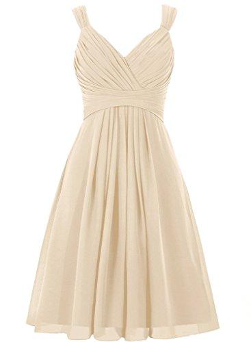 - AINNIE Women's Double Straps V-neck Chiffon Short Bridesmaid Prom Dress Champagne 15w