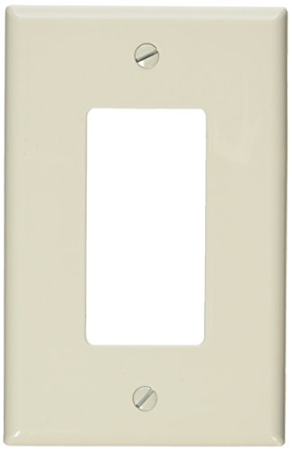 Leviton PJ26-T 1-Gang, 1-Decora, Midway Nylon Wallplate, Midway Size, Light Almond - 1 Gang Almond
