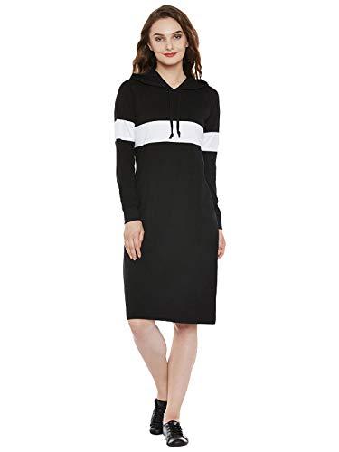Popster Navy Blue Solid Cotton Hoody Regular Fit Long Sleeve Womens T-Shirt | Winter Wear for Women & Girls | for Dailywear, Casual, Office Wear Dress