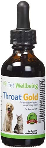 Pet Wellbeing Throat Gold for Dogs – Natural Herbal Cough, Throat and Respiratory Support for Canines – 2 oz 59ml