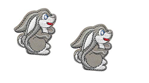 (2 Pieces Small Bunny Iron On Patch Applique Animal Easter Motif Fabric Children Rabbit Scrapbooking Decal 1.85 x 1.61 inches (4.7 x 4.1 cm))