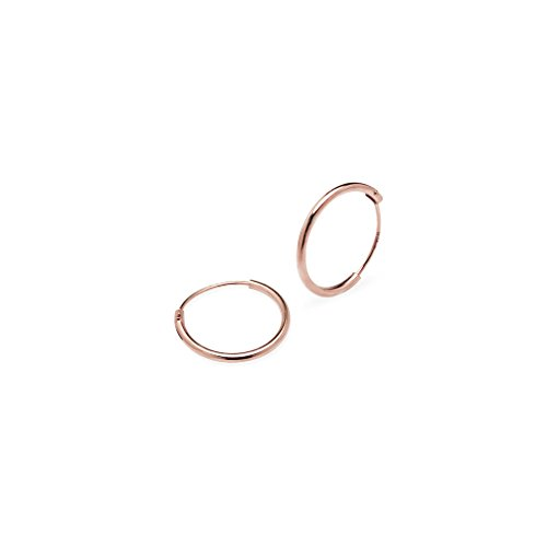 925 Sterling Silver One Pair Set of 12mm Round Endless Hoop Earrings, Rose Gold Flash Sterling